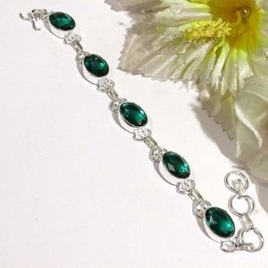 Jewelry - Charming Diopside Silver Overlay Bracelet